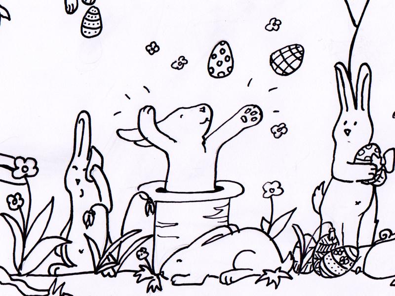 Bunte Ostern – Ausmalbild